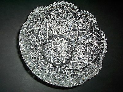"""Sparkling Heavy VINTAGE LEAD CRYSTAL 9"""" serving BOWL AMERICAN CUT GLASS pattern"""