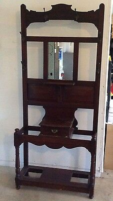 Antique Solid Wood Mahogany Hall Tree Hats Coats Umbrella Stand Hooks 62c