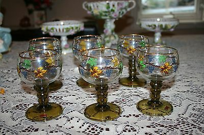 Beautiful Set of 6 Vintage Roehm Crystal Austria German Grapevine Glasses