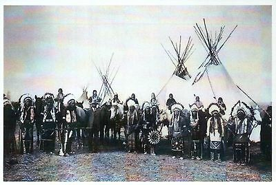 Western Indians in Tribal Dress, Teepees Tipi - Native American History Postcard