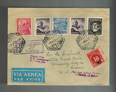 1950 Barcelona Spain Postage Due Airmail Cover to USA
