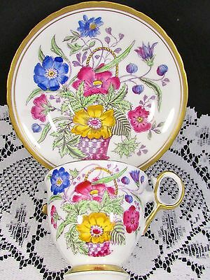 Delphine Elizabeth Pink Blue Floral Basket Tea Cup And Saucer