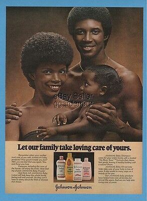 1979 Johnsons Baby Care Lovely Family African American Black Beauty Print Ad