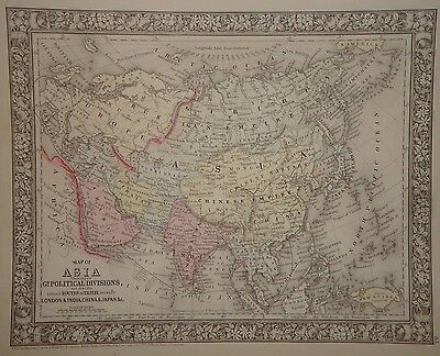 Vintage 1860 Asia Hindoostan Arabia Map Old Antique Original Atlas Map 66/050217