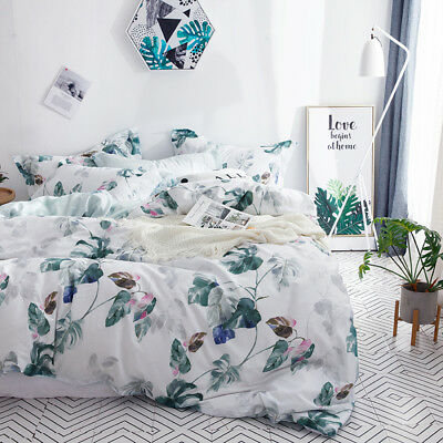 Floral Doona Quilt Duvet Cover Set Single/Double/Queen/King Size Bedding Cotton