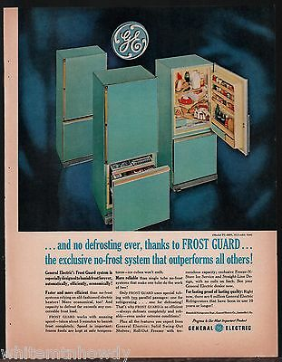 1961 GE General Electric Turquoise Aqua TC-455V Refrigerator Retro Kitchen AD