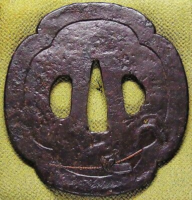 "Fine KATANA TSUBA 18-19th C Japanese Edo Antique Koshirae fitting ""BAGU"" d604"