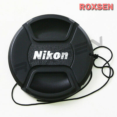 67mm Center Pinch Snap-on Front Lens Cap hood Cover for Nikon lens with Strap