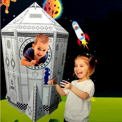 Colour Your Own Rocket Ship House Childrens Playhouse Kids Cardboard Wendy Tent