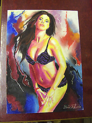 LIVIU FLORIN ORIGINAL ART LARGE PASTEL 42cm x 58cm - SENSUAL GIRL ARTWORK