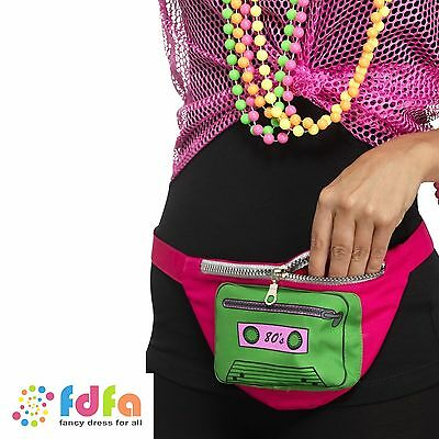 80s MULTI COLOURED BUMBAG FANNY PACK PINK Womens Ladies Fancy Dress Costume