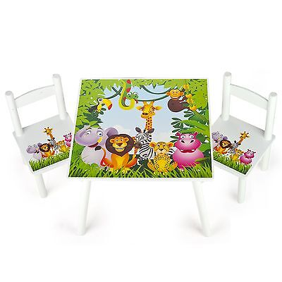 Jungle Animals Wooden Table & 2 Chairs Set New Childrens Furniture Kids