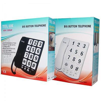 TEL-UK New Yorker 18041 Corded Home Phone Wall Mountable Big Buttons New Black