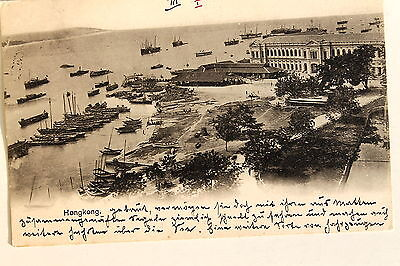 24673 PC Postcard HONG KONG the harbour port ships 1902