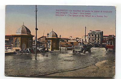 Salonica - The Quays of the Wharf on a Stormy Day - old postcard