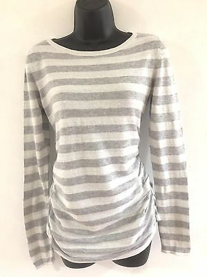 H&M Mama Grey Striped Maternity Jumper with Silver Lurex Thread Size S