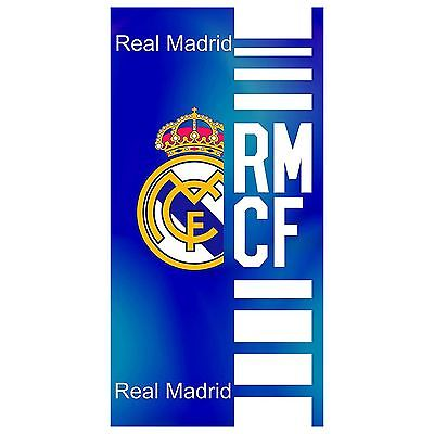 Real Madrid Cf Blue Beach Towel Football 100% Cotton Official