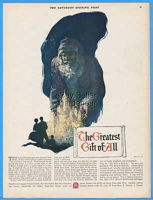 1926  Postum Breakfast Cereal Post Greatest Gift Of All Christmas Santa Claus Ad