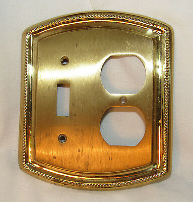 Vintage solid Heavy Brass Single Toggle & Outlet Combo Cover Switch Plate ITALY