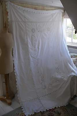 Very large antique embroidered white cotton & lace tablecloth, pretty embroi