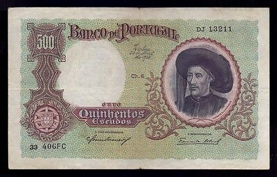 B-D-M Portugal 500 escudos Infante Don Henrique 1938 Pick 151 Sign 2 MBC VF