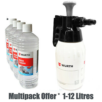 Wurth Brake Cleaner Packs & Pump 1Ltr Bottle Adjustable Dispenser Solvent Spray