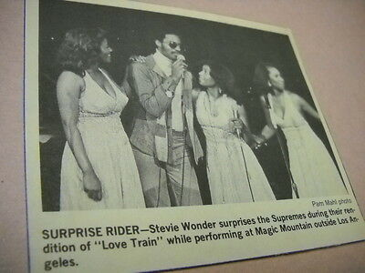 STEVIE WONDER surprises THE SUPREMES 1974 music biz promo image with text