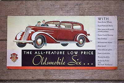 "ORIGINAL 1934 ""The All New Feature Low Price Oldsmobile Six"" Fold Out Brochure"