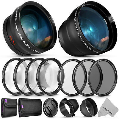 52MM Starter Accessory Kit for Nikon with Wide Angle + Telephoto Lens & Filters