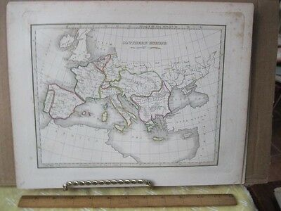 Vintage Print,SOUTHERN EUROPE,Map by Bradford,1835,Color