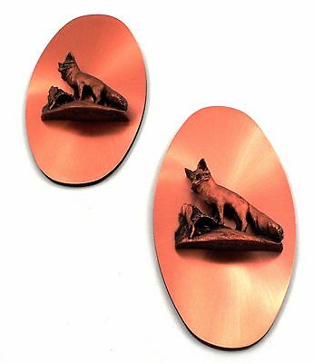 2 1960s Victor Copperama Parental Pride Fox & Kit 3d Raised Relief Wall Plaques