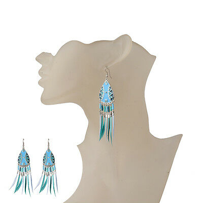 Bohemian Boho Style Multi-color Beads Bronze Colorful Feather Women Earrings