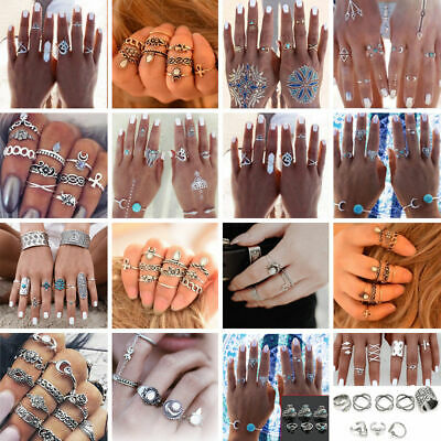 Crystal Boho Women Stack Above Knuckle Ring Midi Finger Tip Rings Set Jewelry