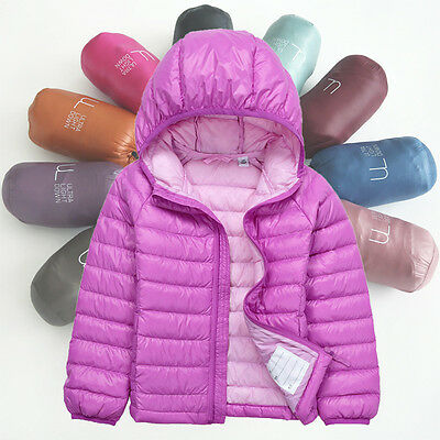 Winter Kids Boys Girl Duck Down Snowsuit Hooded Light Quilted Puffer Coat Jacket