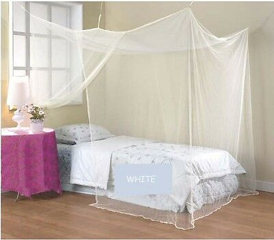 White Mosquito Net Four Corner Bed Canopy Bug Single Double King Super King Size