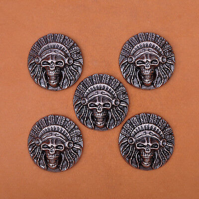 3.2X3.2CM 10pcs Leathercraft Ancient Western Skull Texas Indian Saddle Conchos
