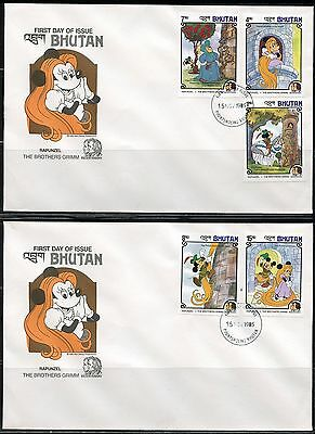 Bhutan Disney Grimm Brothers Set  Imperforate On First Day Covers