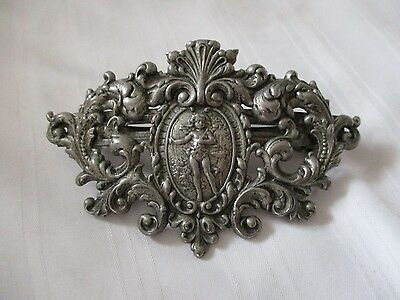 Sweet Romance cupid cameo hair barrette made in France large size