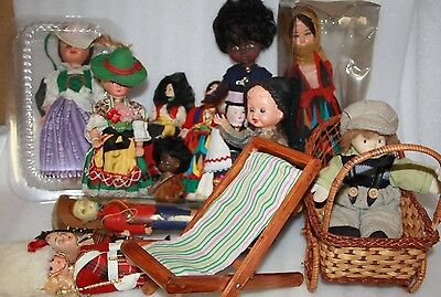 wicker dolls pram and vintage dolls bulk lot vintage dolls deck chair x 18 items