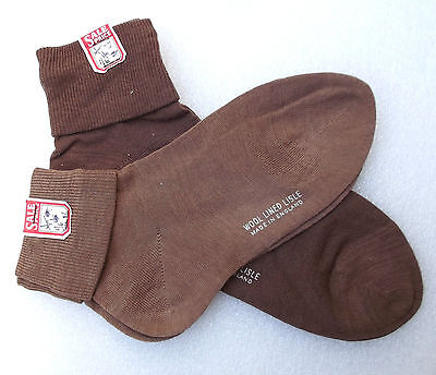 Wool lined LISLE short socks Real vintage 1950s brown school uniform UNUSED