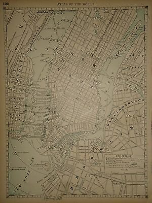 Vintage 1890 Manhattan - New York City Map Old Antique Original Atlas Map 050117
