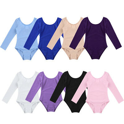 Girls Kids Gymnastics Ballet Dance Long Sleeve Leotards Sports Suit Aged 3-12Yrs