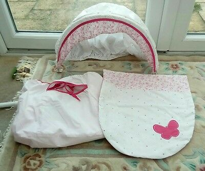 MOSES  BASKET COVER SET WITH PADDED COVER- 3 PIECE  PINK BUTTERFL mothercare VGC