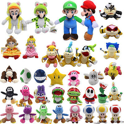 Super Mario Bros Plush Dolls Stuffed Soft Mario Birdo Caterpillar Toys 15cm-25cm