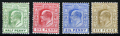 BAHAMAS Edward VII 1906-11 The Full  Wmk Multiple Crown CA Set SG 71 to 74 MINT