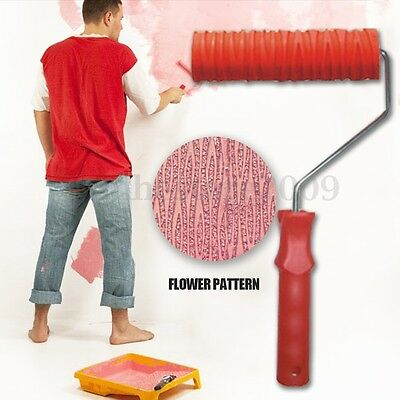 """7"""" Embossing Tree Paint Roller Painting Brush with Handle Wall Decor Tool NO.024"""