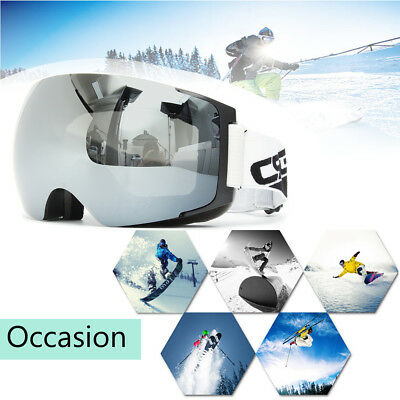 Snowboard Snowmobile Ski Goggles Magnet UV Protection Anti-fog Double-Lens Black