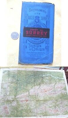 Vintage Map,SURREY,UK,Bartholomew's Tourist,Cyclists,Color,C.1920-30