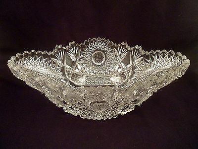 Richly Cut Complex Crystal Oval Bowl, American Brilliant Period Antique