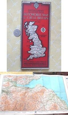 Vintage Map,GREAT BRITAIN,Bartholomew's Auto,1929,Color